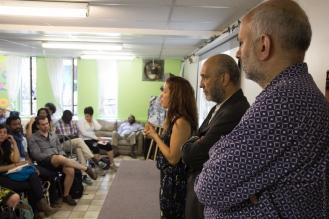 Désirée Rochat, Frantz Voltaire et Aziz Choudry, une partie de l'équipe du projet